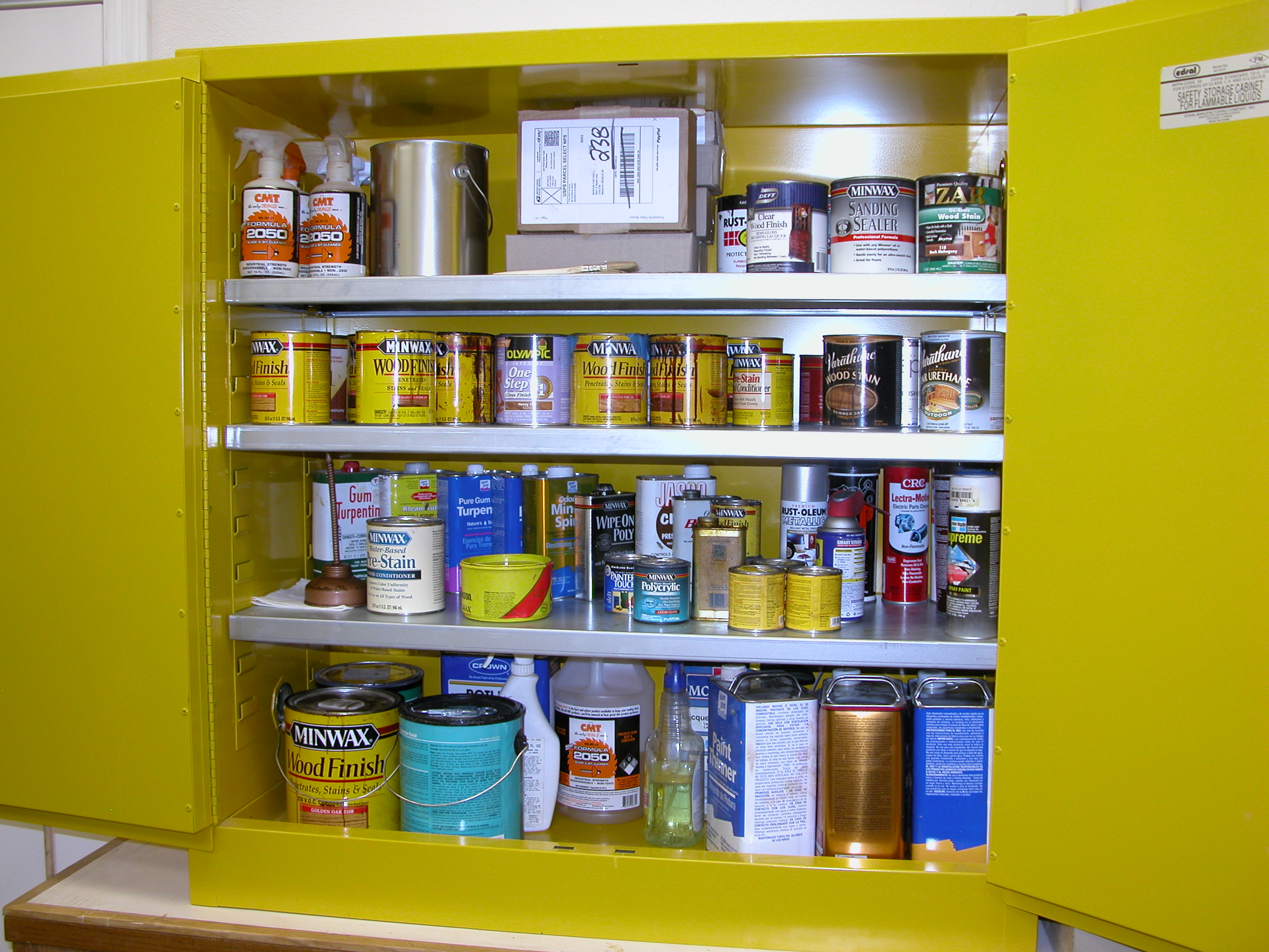 Paints and Solvents in Fireproof Cabinet